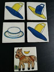 Lot Of 5 Vintage 4 Mexico Tea Cup And Saucer Donkey Ceramic Pottery Tile Coaster