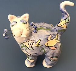 VERY EARLY PIECE 2001 Whimsiclay Cat By Amy Lacombe TROPICAL FISH CAT