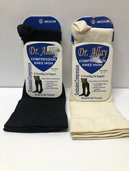 2 Pair Dr Allay Compression Knee High Socks Black And White Size Medium $10.00