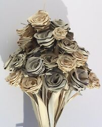 All Natural 3 Tone 3 Shade 40 Rose Bouquet with Everlasting handmade Leaf Roses