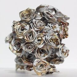 White Rose Gold Abstract 40 Rose Bouquet with Everlasting handmade Gold Roses