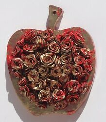 Red Gold Apple With Handmade Abstract Art Roses And Art Resin 3D Golden Apple