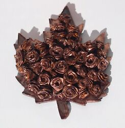 Maple Leaf With Handmade Abstract Art Roses And Art Resin 3D Maple Syrup Leaf