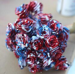 Red White Blue Abstract Everlasting Handmade Rose Bouquet By artist #RoseManJ