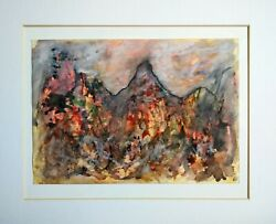 Original Painting Expressionism Expressionist Abstract Art Mountain Volcano