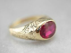 Antique 1920s Ruby Glass Floral Ring