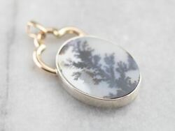 Dendritic Agate Sterling Silver And Gold Pendant