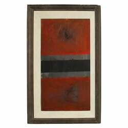 Art By Vicente Rojo, Abstract Oil On Canvas Red Painting Signed