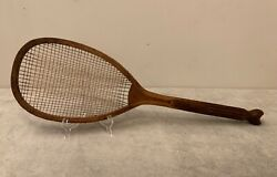 """Rare Antique Bussey's """"the Diamond 2"""" Wood Fishtail Tennis Racket Double String"""