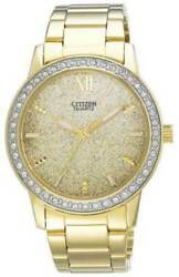 New Citizen El3022-57p Womenand039s Gold Dial Gold Stainless Steel Watch Msrp 250