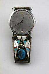 Timex Vintage Sterling Silver Turquoise Coral Inlay Stretch Band Bracelet Watch