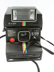 Vtg Polaroid One Step Plus Instant Land Camera With Q Light Rainbow Carry Case