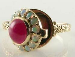 9k 9ct Gold Indian Ruby And Aus Opal Poison Locket Art Deco Ins Ring Size M 1/2