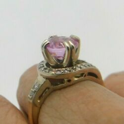 Antique 14 Kt Tutone Diamond And Round Pink Sapphire Ring Size 7.5  R129
