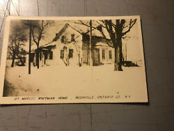 Vintage Real Photo Postcard Dr. Marcus Whitman Home Rushville Ny Ontario County