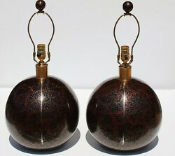 Pair Large Old Vintage Chinese Cloisonne Enamel Round Table Lamps Rare