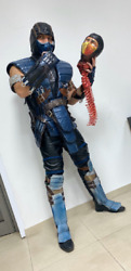 Mortal Kombat Sub Zero cosplay costume and Scorpion head with spine