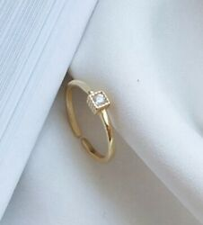 Women  Girl 925 sterling silver Gold Square CZ Zircon Ring  Open Ring Size 5.5