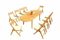 Dssl A-grade Teak 11pc Dining Set 94 Oval Table Folding Reclining Chairs