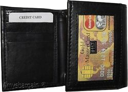 Men's tri-fold Leather Wallet 9 credit card ID coin case 2 Billfold New wallet $12.95