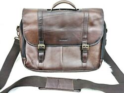 Samsonite Leather Flap Over Laptop Messenger Bag Briefcase Train Travel AS IS