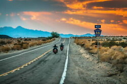 103424 Two Bikers Riding Into Sunset On Route 66 Decor Laminated Poster Us