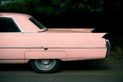 103585 Fins Of Pink Cadillac Classic Car Photo Art Decor Laminated Poster Us