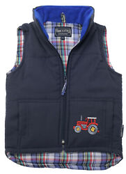 Boyand039s Childs Embroidered Tractor Zipped Gilet Body Warmer Jacket Coat Tweed Kids