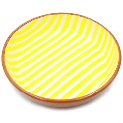 Hand-painted Portuguese Terracotta Large Salad Serving Bowl - Striped Yellow