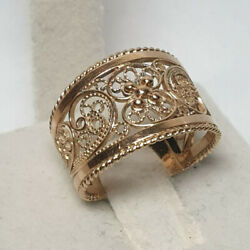 Vintage Russian Wide Filigree Ring Jewelry Spectacular Gold 14k 583 4.56g