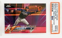 2018 Topps Chrome Update Ronald Acuna Jr. Rc Pink Debut 4/25/18 Hmt31 Psa 10