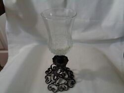 Vintage Antique Wrought Iron Taper Candle Holder Black With Glass Globe