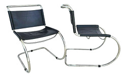 Mcm Mies Van Der Rohe Style Cantilever Chrome Leather Chairs - Set Of 2
