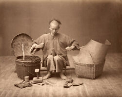 Rare Vintage 1865-1870 Photograph Of Chinese Cobbler