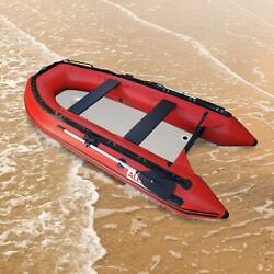 Aleko Inflatable Fishing Rafting Boat With Air Deck Floor 10.5 Ft Red