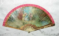 Antique Vernis Martin Style Hand Painted Fan Circa 1900 $485.00