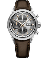 Raymond Weil Freelancer Automatic Chronograph, 42 Mm, Brown Leather Strap, Silve