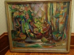 Dorothy V. Reese Abstract Still Life Oil On Canvas Painting, Listed Artist