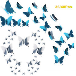 48 36Pcs 3D Mirror Butterfly Wall Stickers DIY Removable Decals Home Mural Decor