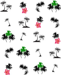 Palm Tree Silhouettes Waterslide Water Transfer Nail Decals Nail art