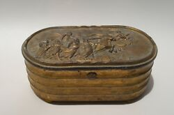 Antique Russian Pewter Trinket Jewelry Box Nike Goddess Of Victory