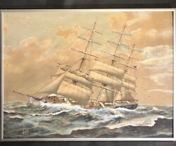 """Watercolour On Silk Us Triple Mast Mail, Cargo 19th Cent. Ship By """"raey"""""""