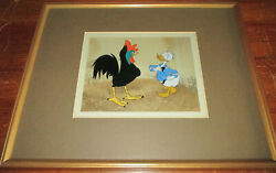 Donald Duck And Rooster Disneyland Gold Sticker Disney Production Cel 1940-50