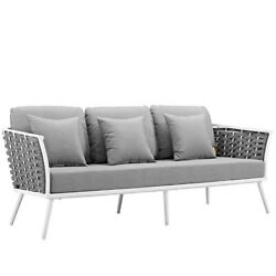 Outdoor Indoor Patio Sofa W Cushions Gray White Frame Metal