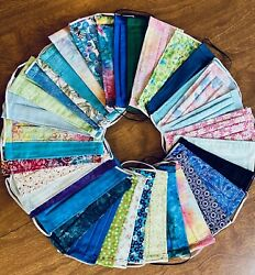 Handmade Fabric Face Mask Washable filter pocket nose wire LOTS Of Designs