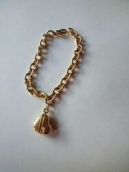 18k Yellow Gold Heart And Arrow Vintage Retro Charm Bracelet Crc 1994 7.5