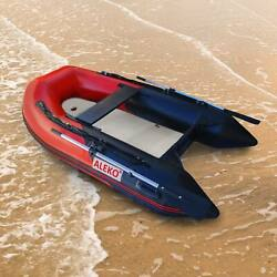 Aleko 8.4 Ft Inflatable Fishing Boat With Air Floor Deck 3 Person Raft Red/black