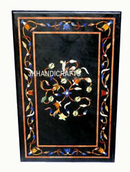 Black Marble Meeting And Dining Table Top Inlaid Work Hallway Decor 24and039and039 X 30