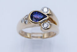 Exotic Style 1.29 Ct Pear Shaped Violet Sapphire And Round Diamonds Lady Ring