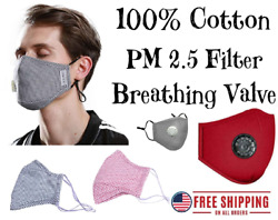 100% Cotton Face Mask with PM 2.5 Filter Pocket and Valve; Red Gray Blue Black